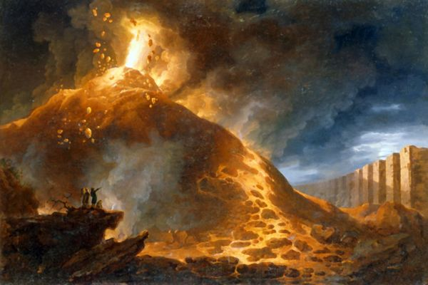 Ngọn Vesuvius đang phun lửa (tranh vẽ khoảng năm 1768 của Francesco Fidanza ). Ảnh: Corbis/ Christie's Images.