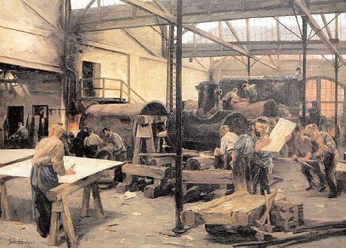 Tranh vẽ một xưởng chế tạo lò áp suất của Josef Huber Feldkirch năm 1891. Ảnh: AKG.