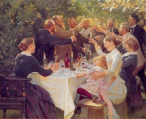 Tác phẩm của Krøyer năm 1888. Từ trái sang phải: Martha Johansen, họa sĩ Viggo Johansen, họa sĩ người Na Uy Christian Krohg, P.S. Krøyer, Degn Brøndum (anh của bà Anna Ancher), Michael Ancher, họa sĩ người Thụy Điển Oscar Björck, Thorvald Niss, cô giáo Helene Christensen, Anna Ancher và Helga Ancher.