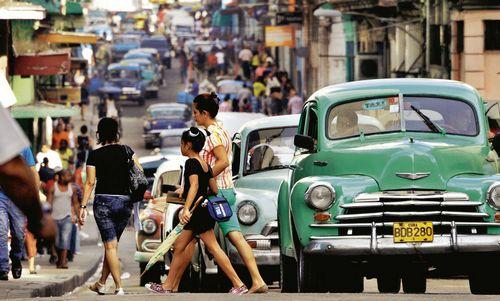 Đường Neptuno trong thủ đô của Cuba: phòng thí nghiệm cho các thử nghiệm về kinh tế. Ảnh: Spiegel