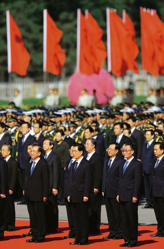 Lãnh đạo Đảng Cộng sản trên quảng trường Thiên An Môn. Ảnh: Der Spiegel