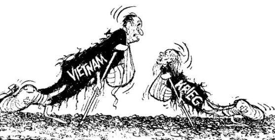 """""""Tôi thương lượng từ thế mạnh…"""" Chicago Daily News. Ảnh biếm họa từ báo Der Spiegel số 21/1968"""