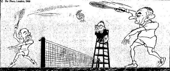 Trò chơi của dân chuyên nghiệp. Biếm họa của The Times, 1968.