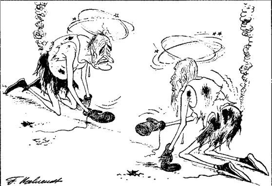 Trước vòng cuối. Ảnh biếm họa của tờ Weltwoche, số 17 / 1968