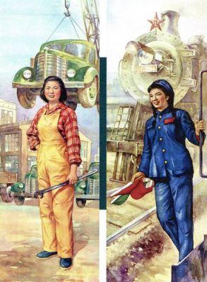 Chiến dịch công nghiệp hóa của Đảng Cộng sản cần hàng triệu sức lao động, những cái phải được thay thế. Vì thế mà bây giờ phụ nữ phải tiếp nhận công việc đồng áng và chẳng bao lâu sau đó cả những công việc mới như thợ cơ khí hay nhân viên đường sắt. Ảnh: GEO Epoche.