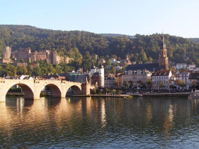 Heidelberg với chiếc Cầu Cũ, nhà thờ Thánh Linh và lâu đài đổ nát cạnh dòng sông Neckar. Ảnh: Phan Ba