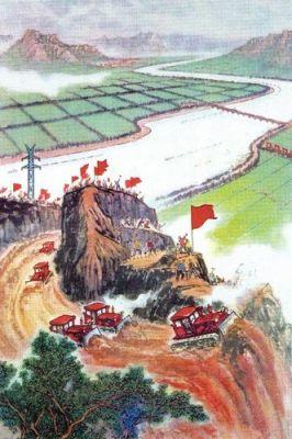 Năm 1958 không có máy móc hạng nặng để làm việc. Thiếu xe ủi đất và xe xúc đất, người công dân dùng số lượng khổng lồ của họ để bù đắp vào đó: hàng triệu người dùng xẻng đào kênh dẫn nước, xây đập nước hay xúc đi cả một ngọn núi như ở Thiểm Tây. Ảnh: GEO Epoche.
