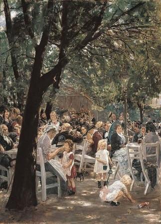 Vườn bia München. Tranh của Max Liebermann, 1884