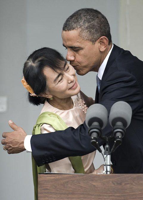 Barack Obama và Aung San Suu Kyi. Hình: http://www.thesun.co.uk