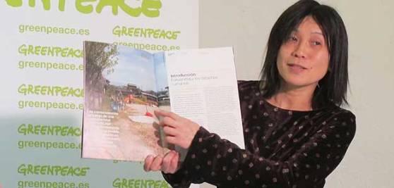 Sadako Monma và ngôi nhà trẻ bị nhiễm phóng xạ. Hình: Greenpeace
