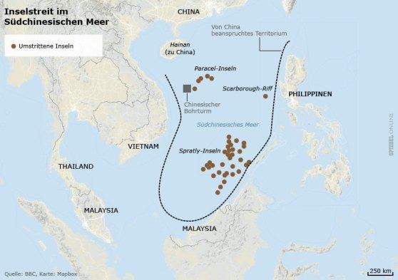 """Bản đồ vùng biển đang có tranh chấp. """"Umstrittene Inseln"""" = đảo có tranh chấp, """"Chinesischer Bohrturm"""" = Tháp khoan Trung Quốc. Nguồn: BBC, bản đồ: Mapbox"""