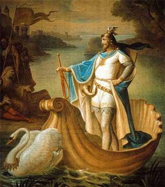Hiệp sĩ Lohengrin trên chiếc thuyến do thiên nga kéo đi, nhân vật trong vở opera cùng tên của Richard Wagner.