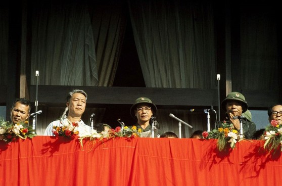 VIETNAM - MAY 07: Saigon in Vietnam on May 07, 1975 - Anniversary of the victory of Dien Bien Phu, Speech by General Tran Van Tra. (Photo by Herve GLOAGUEN/Gamma-Rapho via Getty Images)