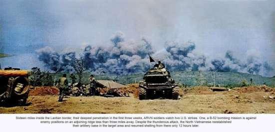 16 dặm bên trong lãnh thổ Lào, điểm xâm nhập sâu nhất mà quân Nam VN vào được trong 3 tuần đầu, các binh sĩ Nam VN theo dõi hai cuộc không kich của Mỹ. Một là cuộc dội bom B-52 xuống các vị trí quân địch ở một sườn đồi bên cạnh, xa chưa tới 3 dặm. Mặc dù bị không kích dữ dội như vậy, quân Bắc Việt đã tái lập được căn cứ pháo binh của họ trong vùng mục tiêu và đã tiếp tục pháo kích từ nơi đó chỉ 12 giờ đồng hồ sau.