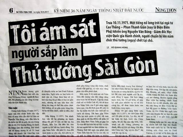Bài của Vũ Quang Hùng tường thuật vụ ám sát Nguyễn Văn Bông