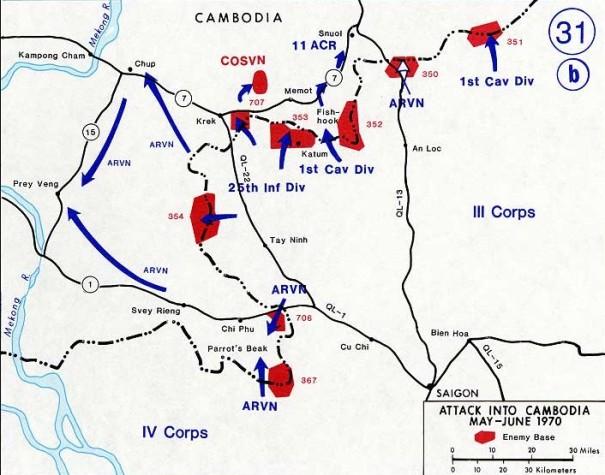 Sơ đồ chiến dịch đột kích Campuchia, tháng Năm 1970