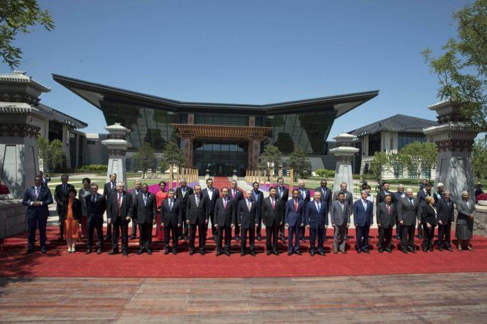 Hội nghị bàn tròn các nhà lãnh đạo quốc gia tham dự Diễn đàn Nhất Ðới Nhất Lộ tại trung tâm hội nghị quốc tế Yanqi Lake, Bắc Kinh, hôm Chủ Nhật 15 Tháng Năm 2017. (Hình: Getty Images)