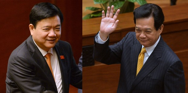 Bí thư thành Ủy thành phố Hồ Chí Minh, Ủy viên Bộ Chính trị Đinh La Thăng (trái) và cựu Thủ tướng Việt Nam Nguyễn Tấn Dũng (phải).