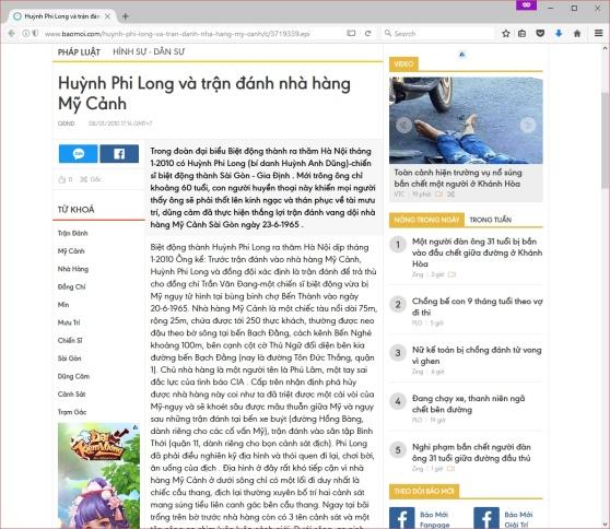 Bài đăng trên Báo Mới ngày 08 tháng 01 năm 2010