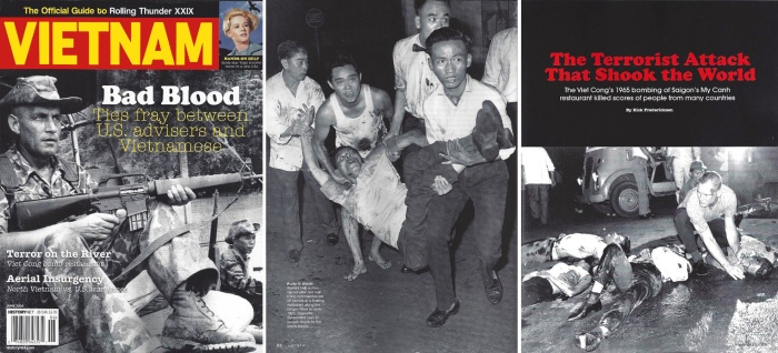 Vụ đánh bom của Việt Cộng vào nhà hàng Mỹ Cảnh tại Saigon năm 1965 đã giết chết hàng chục người của nhiều quốc gia. Hình giữa: Nhân viên phục vụ nhà hàng giúp đỡ một người đàn ông sau khi hai tên đặc công VC cho nổ hai quả bom tại một nhà hàng nổi trên bờ sông Saigon vào tháng 6/1965. Hình phải: Những người qua đường lao đến cứu giúp những người bị trúng bom.