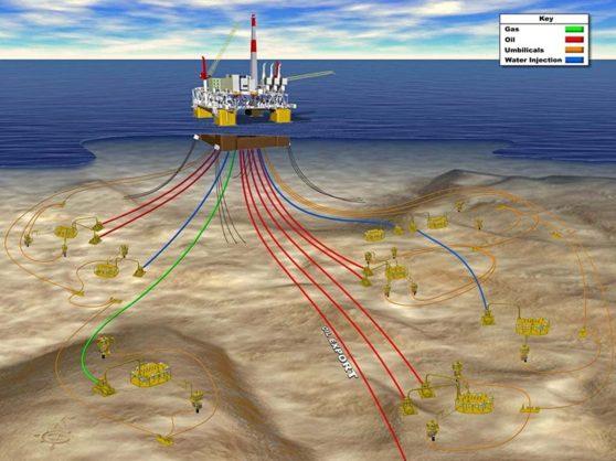 Hình mô phỏng các lô dầu khí tại dự án mỏ Cá Voi Xanh. (Hình: nangluongvietnam.vn)
