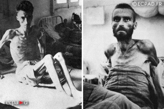Tù binh Pháp bị Việt Minh bắt tại Điện Biên Phủ lúc được trao trả vào cuối năm 1954.
