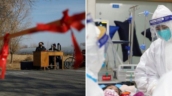 Kiểm soát và bệnh tật trong thời virus corona: một trạm kiểm soát ở ngoại ô Bắc Kinh (trái); Trong bệnh viện trung tâm ở Vũ Hán, nhân viên y tế đang chăm sóc một người bệnh (phải) - bức ảnh được bệnh viện đăng tải vào ngày 25 tháng 1 năm 2020 trên Weibo. © Carlos Garcia Rawlins; Bệnh viện Vũ Hán / Reuters