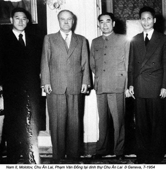 Geneva, Switzerland --- 7/1954: Geneva, Switzerland: Left to right: Nam Il of North Korea; V.M. Molotov, USSR Chou En Lai, Red China, and Pham Van Dong, Vietminh Foreign Minister, at Chou's villa here during peace talks. --- Image by © Bettmann/CORBIS